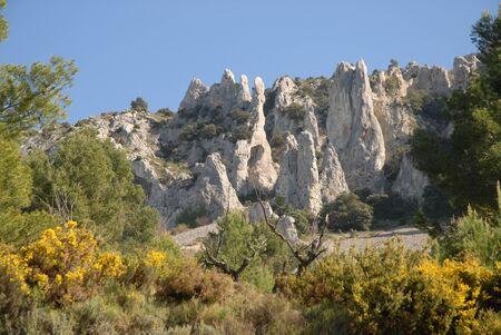 Landscape at Els Frares limestone rock pinnacles near Quatretondeta, Sierra de Serrella, Alicante Province, Spain