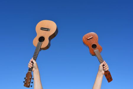 Two handmade ukuleles, a tenor and a soprano, against blue sky