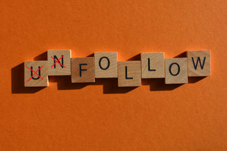 Unfollow, with prefix Un crossed out, leaving the word Follow.