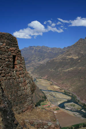 Urubamba river in the sacred valley, seen from the Pisac ruins, Peru Stock Photo - 12992874