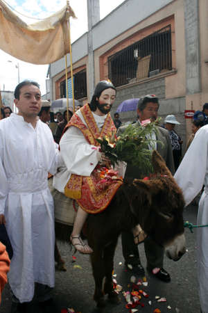 Quito, Ecuador - April 01, 2012 - Jesus entering the town at the Palm Sunday procession