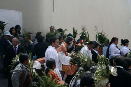 Quito, Ecuador - April 01, 2012 - Jesus entering the town at the Palm Sunday procession Editorial
