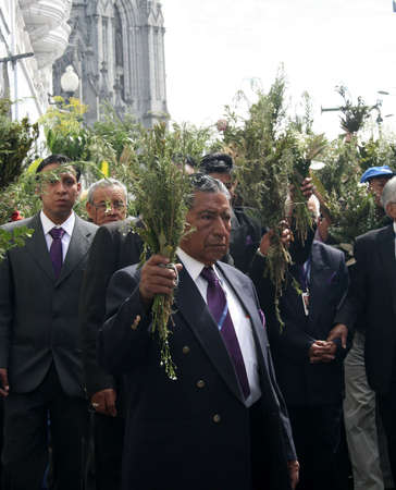 Quito, Ecuador - april 01, 2012 - Elderly at the Palm Sunday procession