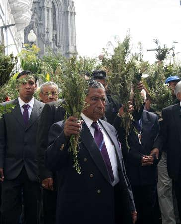 Quito, Ecuador - april 01, 2012 - Elderly at the Palm Sunday procession Stock Photo - 12993667