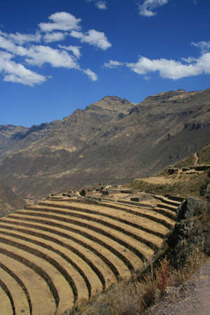 pisac: Inca terraces in Pisac, Peru