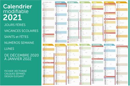 Calendar 2021 Vector Illustratie