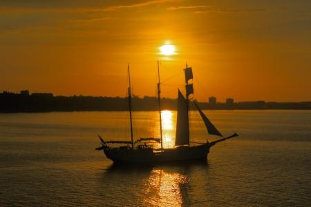 Sailboats in evening sun,Fjord Kiel,Germany   Stock Photo
