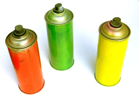 3 color spray paint can  photo