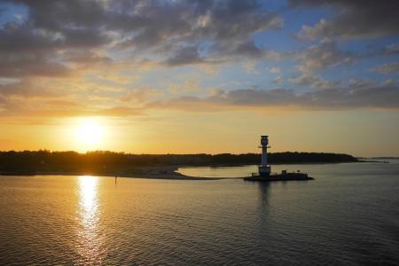 kiel fjord: lighthouse in the twilight of day Kiel,Germany