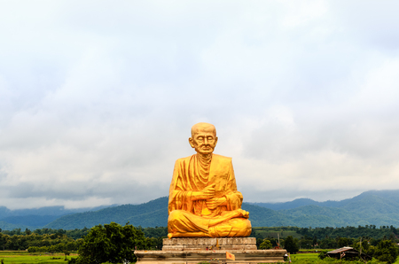 power giant: Buddha statue in thai temple northern thailand. Stock Photo