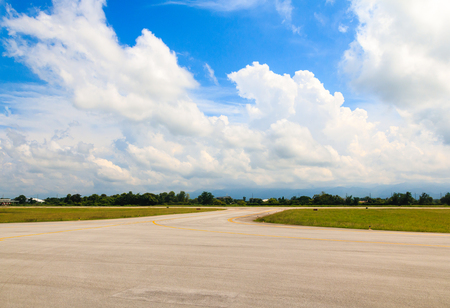 Airport Runway Beautiful Blue Sky with Clouds
