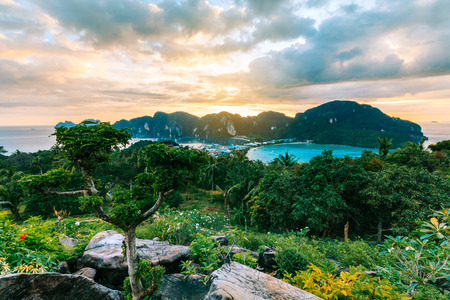 View Point bay Koh Phi Phi Don on sunset in andaman sea, Phi Phi Islands Krabi, South of Thailand. Stock Photo
