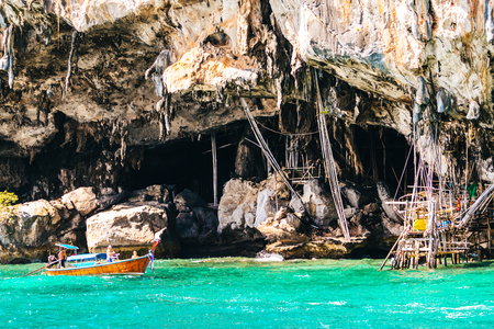 The Viking cave, on the shore of Maya bay, part of Phi Phi islands in Andaman Sea,Krabi  Thailand