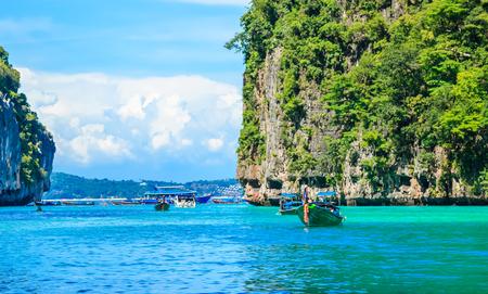 Boat in MAYA Bay Phi Phi Islands Andaman sea  Krabi Thailand. Stock Photo