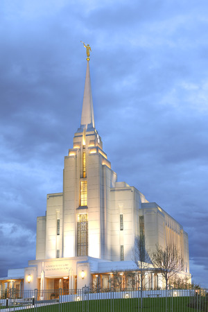 lds: Mormon temple in Rexburg, Idaho on a stormy day
