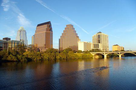Austin Texas skyline with rowers