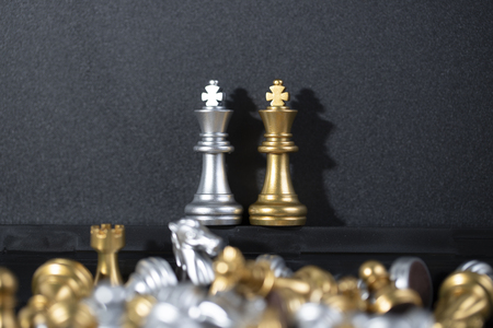 Chess board is the intelligence strategy game to make ideas for business and marketing concept, the success ideas is drive the business to hit target goal and make the advantage above the competition. Stock Photo