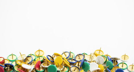 colorful thumb tack on the white background Stock Photo