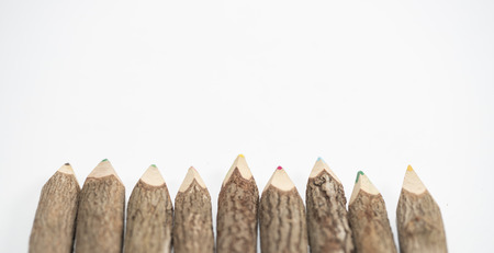 Many wooden pencils isolated on the white background 写真素材