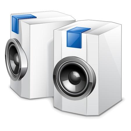 Ilustración vectorial de altavoces de audio en el fondo blanco