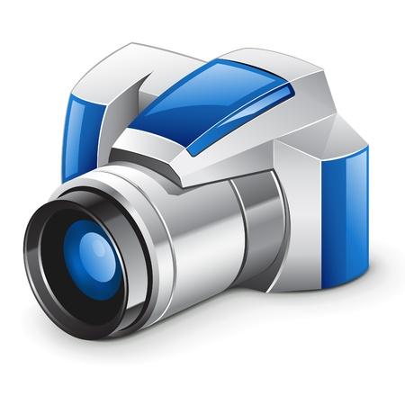 telescopic: Ilustraci�n vectorial de la c�mara digital profesional sobre fondo blanco Vectores