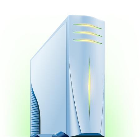 server: Illustrazione vettoriale di computer server su sfondo verde bianco