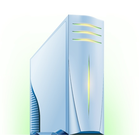 Vector illustration of computer server on green white background