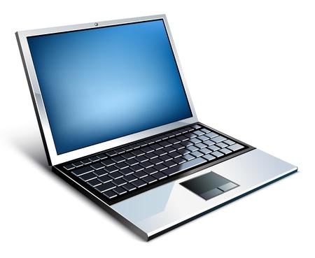 Ilustración vectorial de la computadora portátil sobre fondo blanco