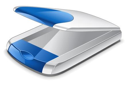 Vector illustration of scanner on white background Illustration