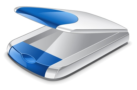 Vector illustration of scanner on white background