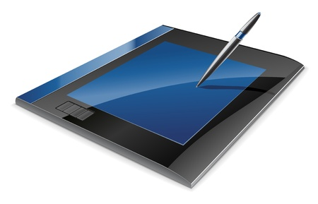 graphic tablet: Ilustraci�n vectorial de tableta gr�fica en el fondo blanco