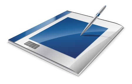 Vector illustration of graphic tablet on white background Stock Vector - 11514245