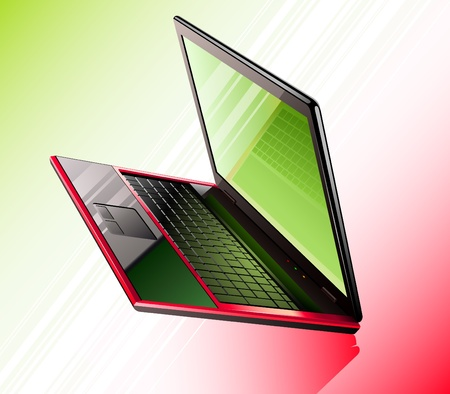Vector illustration of laptop on red-green background Stock Vector - 11514262