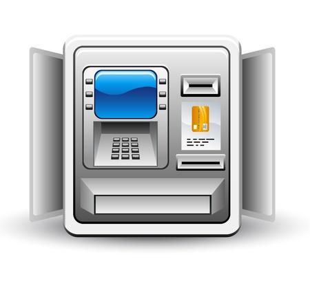 atm card: Ilustraci�n vectorial de un cajero autom�tico en el fondo blanco