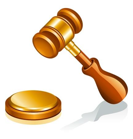 Vector illustration of auction hammer on white background