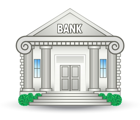 Illustrazione vettoriale di costruzione della banca su sfondo bianco