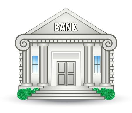 Ilustración vectorial de edificio del banco sobre fondo blanco