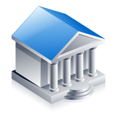 Vector illustration of bank building on white background Vector