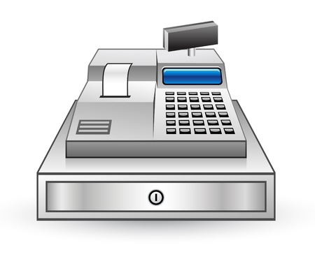 maquina registradora: Ilustraci�n vectorial de la caja registradora en el fondo blanco Vectores