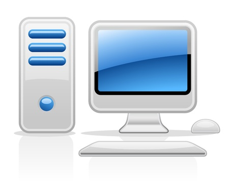 Vector illustration of computer on white background Vector