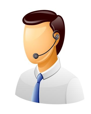 Vector illustratie van de mens in klantenondersteuning pictogram op witte achtergrond