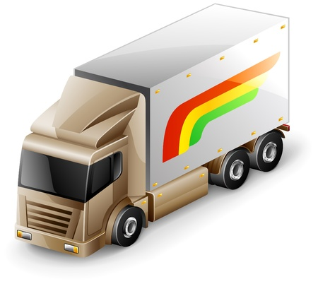 Vector illustration of delivery truck on white background Vector