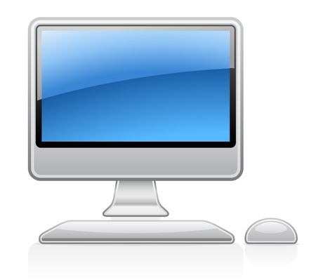 pc icon: Vector illustration of desktop computer on white background Illustration