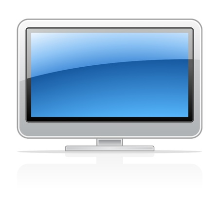 flat screen tv: Vector illustration of display TV on white background Illustration