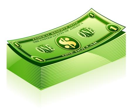 stack of cash: Ilustraci�n vectorial de paquete de d�lares en el fondo blanco