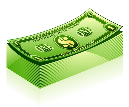 pack of dollars: Vector illustration of dollar pack on white background