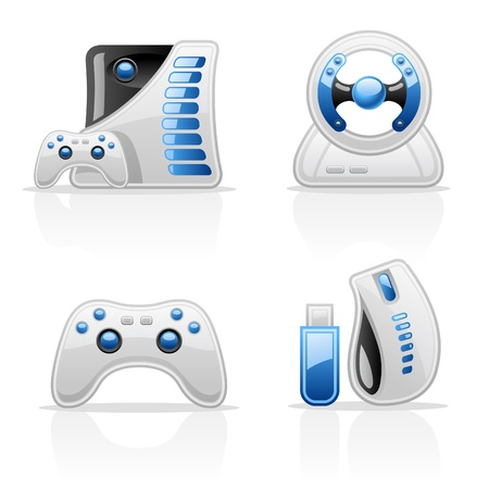 mouse pad: Game vector icons on white background Illustration
