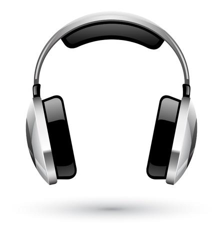 audifonos: Ilustraci�n vectorial de los auriculares en el fondo blanco