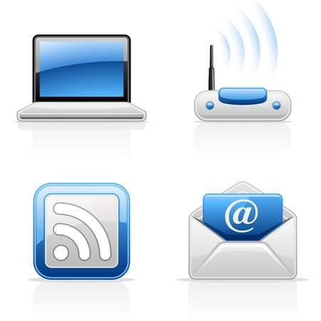 subscribe: Internet communication vector icons on white background