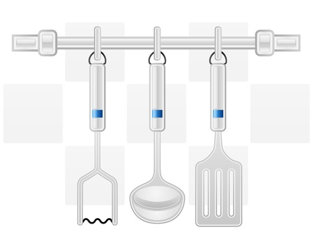 ha: Kitchen, domestic, white background, element, icon, illustration, nobody, objects, symbol, vector, black, grey, modern, blue, contemporary, equipment, household, front, metal, steel, tool, restaurant, utensil, spoon, hanging, spatula, rack, set, ladle, ha Illustration
